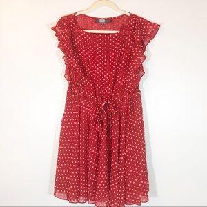 Eva Franco red and white polka dot dress